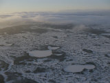 An Aerial Sunrise View of a Desolate Winter Landscape