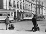 Bootblacks at Work in Front of the Ministry of Marine on the Praca Do Comercio in 1936