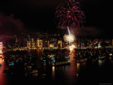 Fireworks Above Victoria Harbour in Celebration of the Chinese New Year
