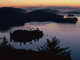 Adirondack Mountains Landscape with Lakes and Hills at Twilight