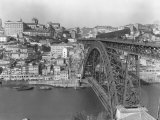 A Portion of Porto and its Large Two-Tiered Bridge Across the Douro River
