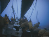 Seamen Tend to Their Sails During a Storm