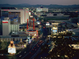 Aerial View of the Strip in Downtown Las Vegas at Night