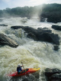 Kayaker Running Maryland Side of Great Falls on the Potomac River