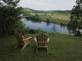 Two Adirondack Chairs on a Scenic Overlook