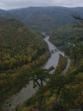 Elevated Autumn View of the Nolichucky River
