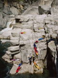 Kayakers Portaging Unrunnable Waterfall in Bald Rock Canyon