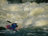 Kayaker Peels out into Big Whitewater Near Great Falls  Potomac River