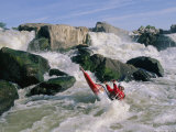Kayaker in Rapids at Great Falls on the Potomac River