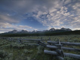 The Sawtooth Mountain Range is a Backdrop for a Split-Rail Fence