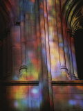 Rich Colors Projected from Stained Glass Windows onto Walls