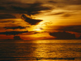 Sunset over Pacific Ocean  Yap Islands  Caroline Islands  Micronesia