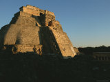 A Low Sunlit View of the House of the Magician Pyramid at Uxmal