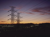 A Twilight Los Angeles Sky Crisscrossed with Power Lines