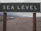 A Sign Declares Sea Level Along a Roadside Near Death Valley