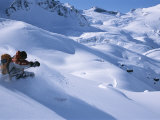 A Skier in the Selkirk Range  British Columbia  Canada