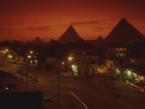 Nazlet El Samman  Town with Giza Pyramids  Sunset