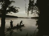 A Family in a Pirogue Canoe Travels up the Sangha River