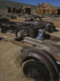 A View of Buildings and Old Vehicles at Bodie Ghost Town