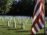 Rows of Tombstones Marked with American Flags Fill a Cemetery