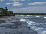 The Surf Breaks on a Beach in the Apostle Islands
