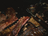 Close View of Ribs Barbecuing