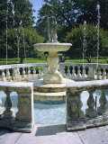 Decorative Fountain in an Elizabethan-Style Garden in Manteo