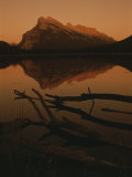 Vermilion Lakes at Sunset with Mount Rundle in the Background