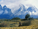 Woman Riding Horseback  Torres Del Paine National Park