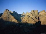 A Climber Silhouetted against Cirque of the Towers  Wind River Range