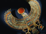 Gold Pendant of Hawk with Semiprecious Stones and Colored Glass