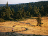A Woman Runs Along a Hilltop Trail
