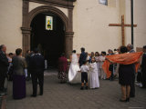 A Wedding Party Outside a Church in Quiroga  Mexico  Named after Vasco De Quiroga