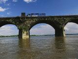 A Train Crosses the Rockville Bridge C 1902  the Longest Stone Arch Railroad Bridge in the World