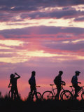 Silhouetted Cyclists Take a Water Break  Northern Arizona