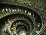 Tourists Descend the Double Spiral Staircase in the Vatican Museums