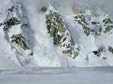 An Avalanche Along a Rocky Mountain Face