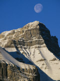 Daytime View of the Moon Above Mount Rundle in Canadas Rocky Mountains