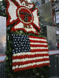 A Floral Banner Combines the American Flag and New York Citys Ladder 8 Symbol