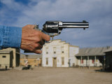 A Close View of a Sixshooter Accentuates This Western Movie Location