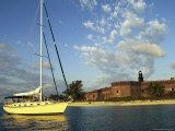 Sailboat Motors Past Fort Jefferson