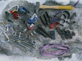 Close View of Climbing Equipment Laid Out on a Rock