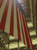 Enormous American Flag Hanging in Marshall Fields Department Store