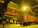 Containers Being Loaded at the Hong Kong Container Terminal