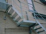 Blue Fire Escape on a Building in Milwaukees Third Ward District