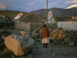 Aymara Indian Woman Walks Through her Village in the Chilean Andes