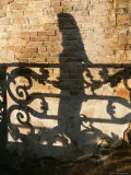 Shadows of a Woman and a Cast Iron Railing on a Brick Wall