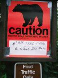 Posted Sign Warning of Bear Sightings
