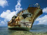 Close up of Rusty Shipwreck Stranded on a South Pacific Reef