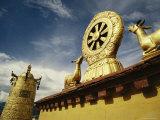 Prayer Wheel  Deer and Wheel of Dharma on the Roof of the Jokhang